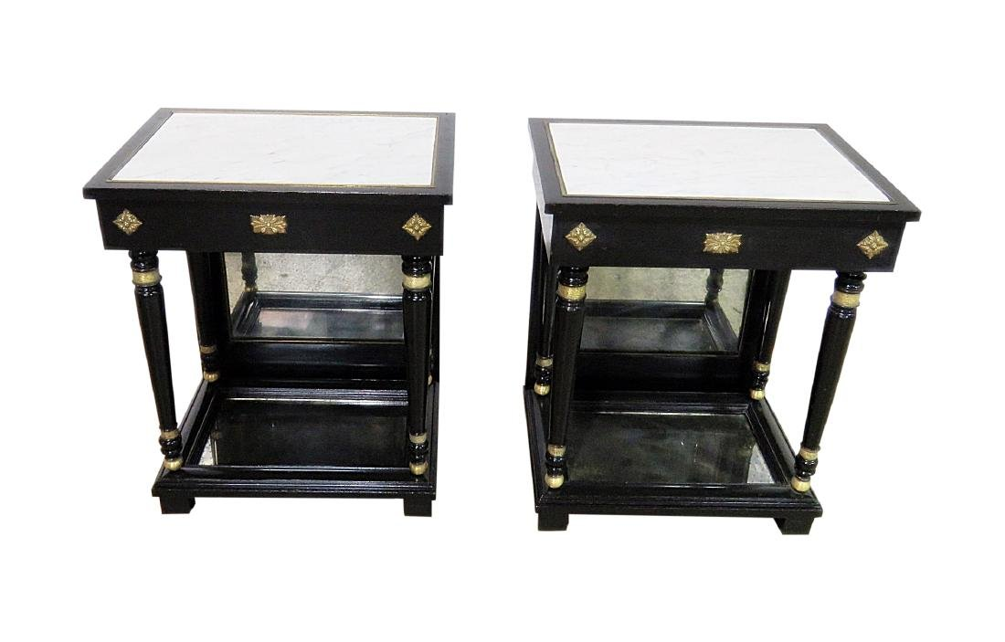 Pair JANSEN STYLE MARBLE TOP END TABLES