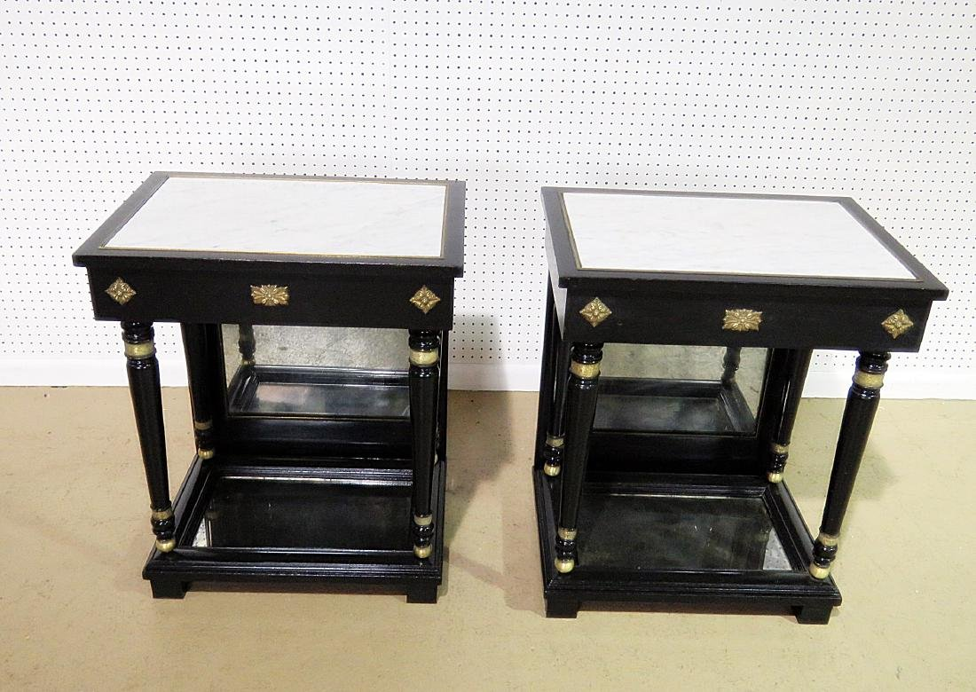 Pair JANSEN STYLE MARBLE TOP END TABLES - 2