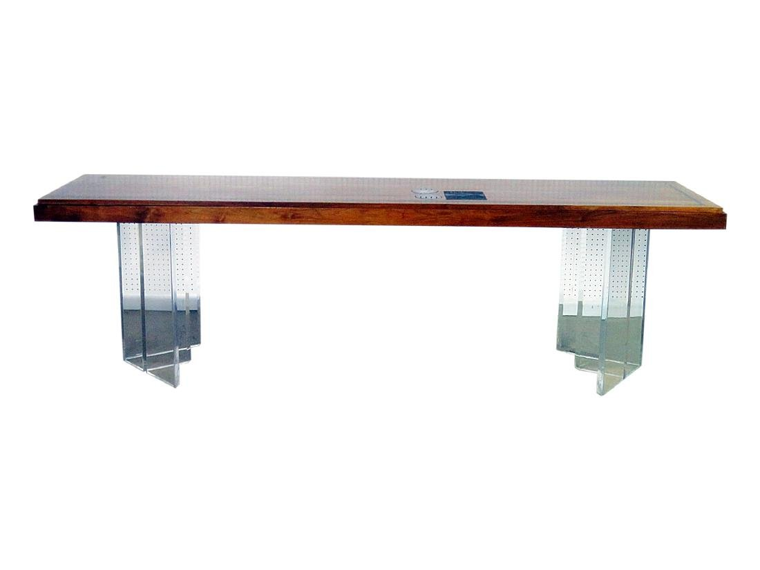 NEW HOPE SCHOOL MCM TABLE with LUCITE BASES