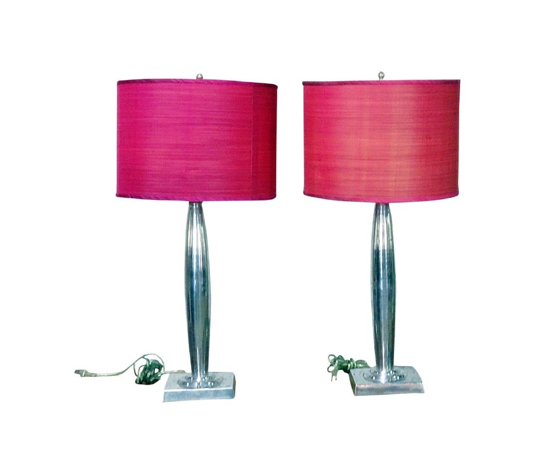 PAIR MID CENTURY MODERN DESIGN LAMPS with SHADES