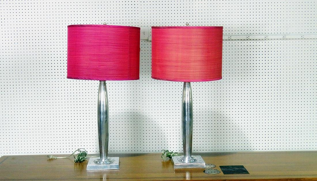 PAIR MID CENTURY MODERN DESIGN LAMPS with SHADES - 2