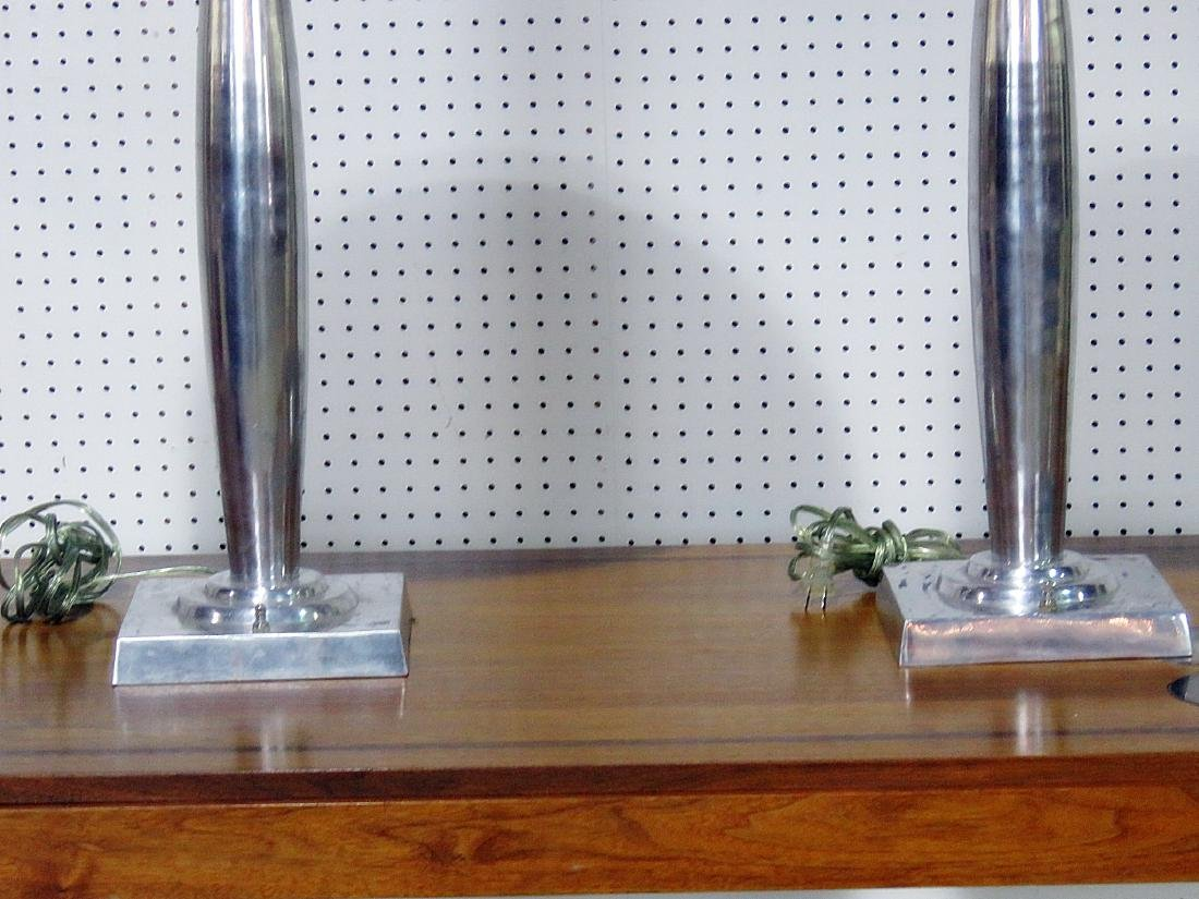 PAIR MID CENTURY MODERN DESIGN LAMPS with SHADES - 3