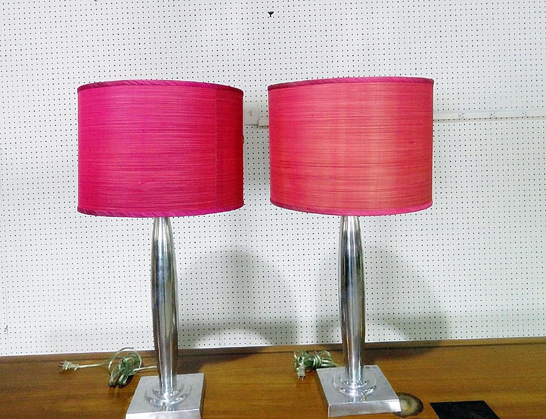 PAIR MID CENTURY MODERN DESIGN LAMPS with SHADES - 4