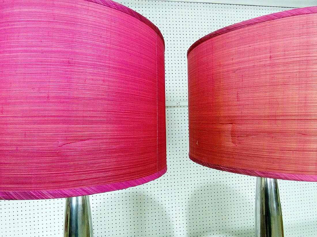 PAIR MID CENTURY MODERN DESIGN LAMPS with SHADES - 5