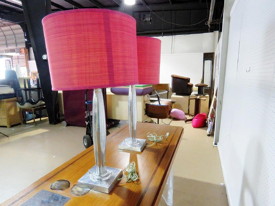 PAIR MID CENTURY MODERN DESIGN LAMPS with SHADES - 7