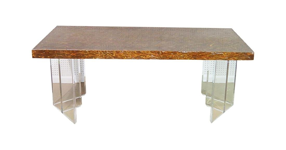 CUSTOM METAL TOP LUCITE BASE TABLE