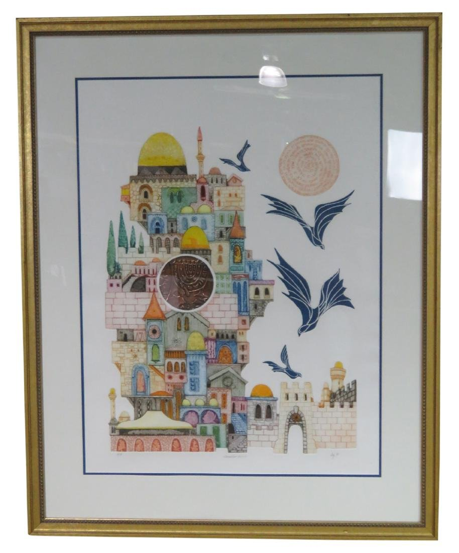 "ORIGINAL MIXED MEDIA ETCHING ""JERUSELUM DOME"""