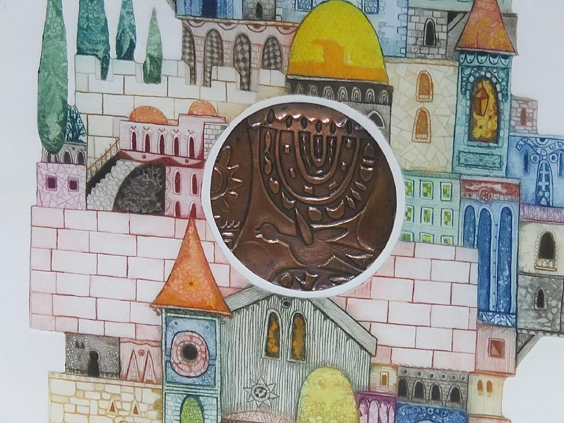 """ORIGINAL MIXED MEDIA ETCHING """"JERUSALUM DOME"""" - 6"""
