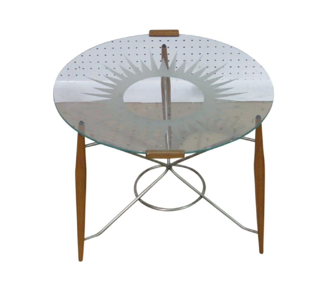 GIO PONTI STYLE GLASS TOP TRAY TABLE