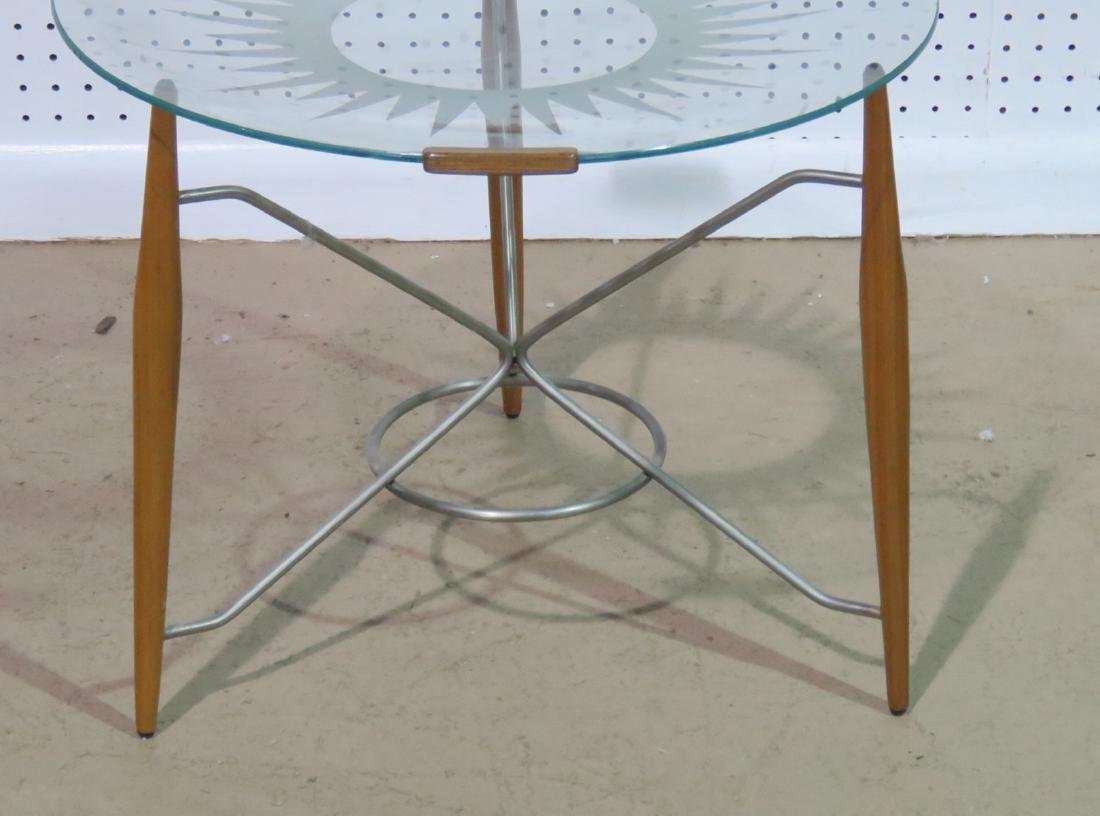 GIO PONTI STYLE GLASS TOP TRAY TABLE - 2