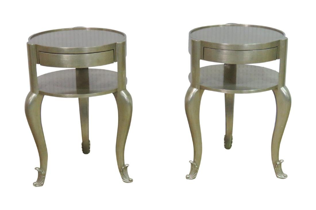 Pair FRENCH MODERN SILVER LEAF STANDS