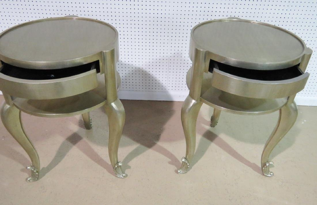 Pair FRENCH MODERN SILVER LEAF STANDS - 4