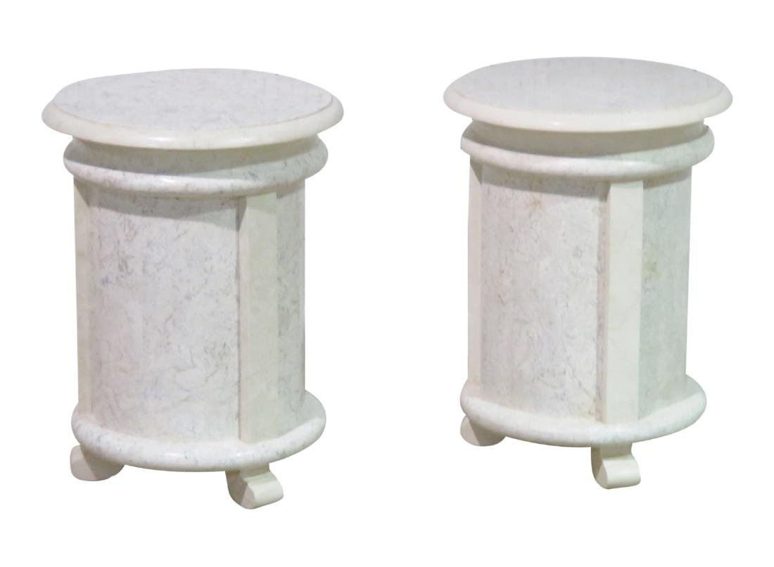 Pair MODERN DESIGN TESSELLATED MARBLE CYLINDER TABLES