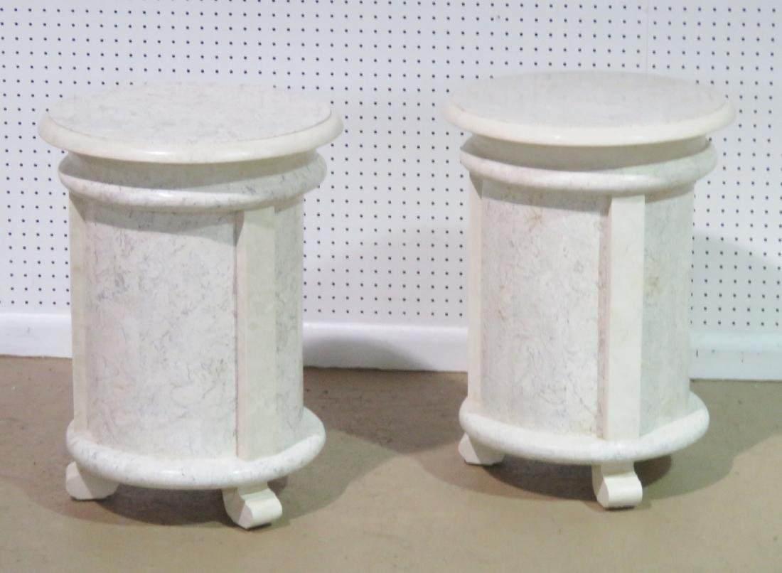 Pair MODERN DESIGN TESSELLATED MARBLE CYLINDER TABLES - 2