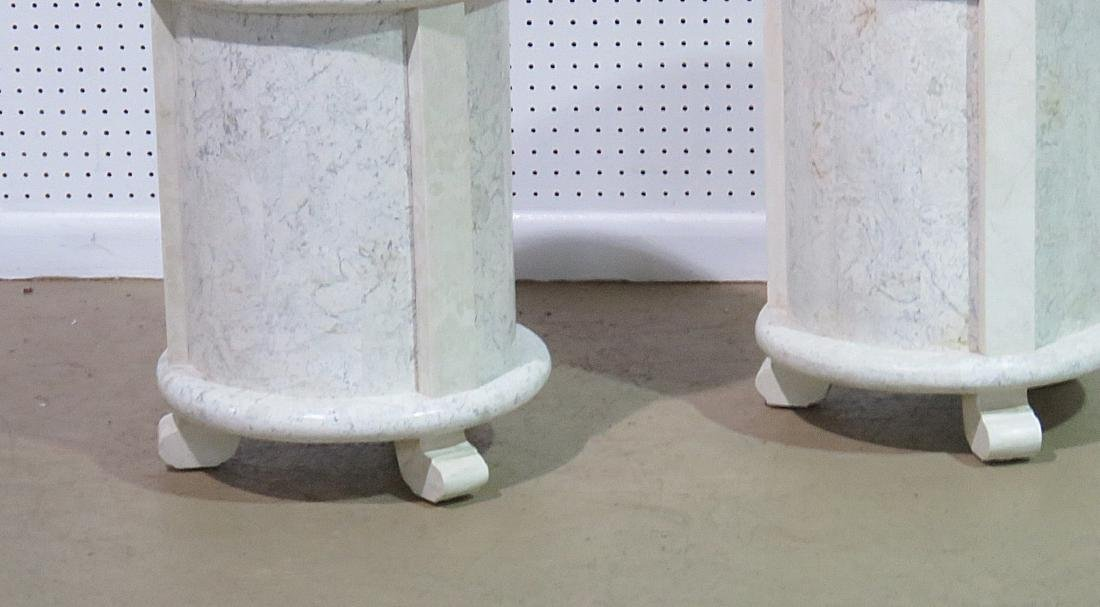Pair MODERN DESIGN TESSELLATED MARBLE CYLINDER TABLES - 3
