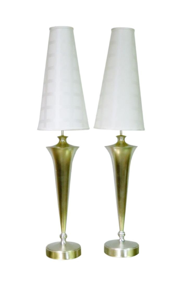 Pair MODERNIST SILVER GILT TABLE LAMPS