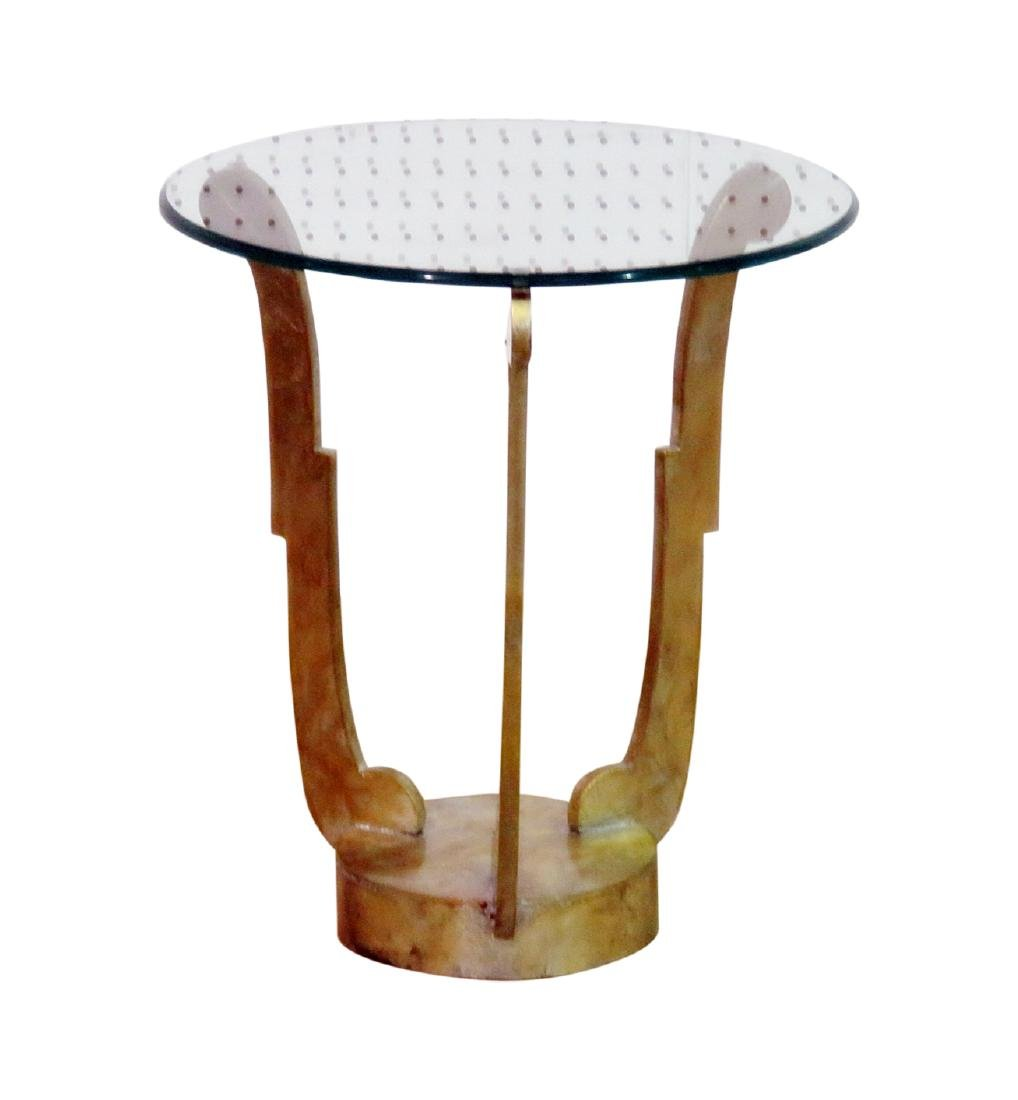 DECO INSPIRED GLASS TOP ACCENT TABLE