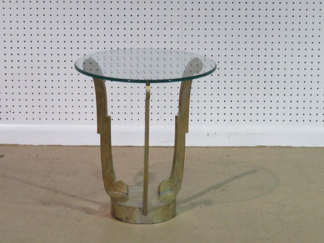 DECO INSPIRED GLASS TOP ACCENT TABLE - 2