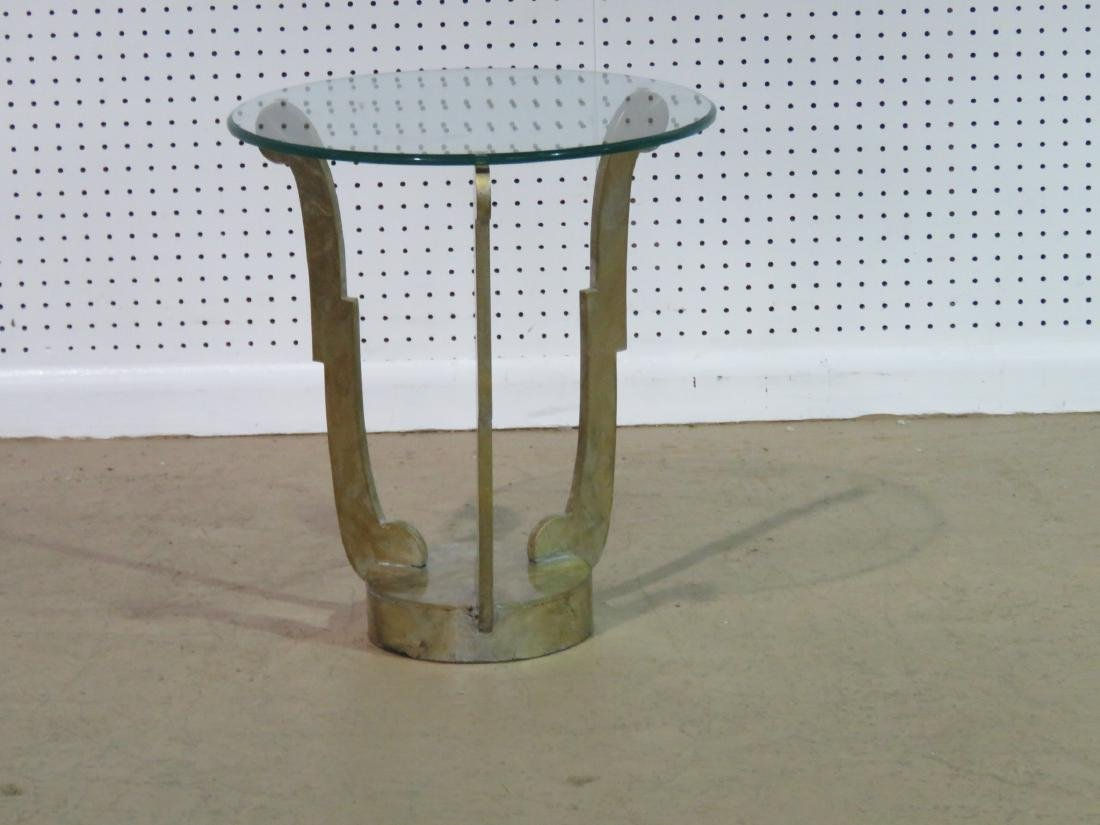 DECO INSPIRED GLASS TOP ACCENT TABLE - 3