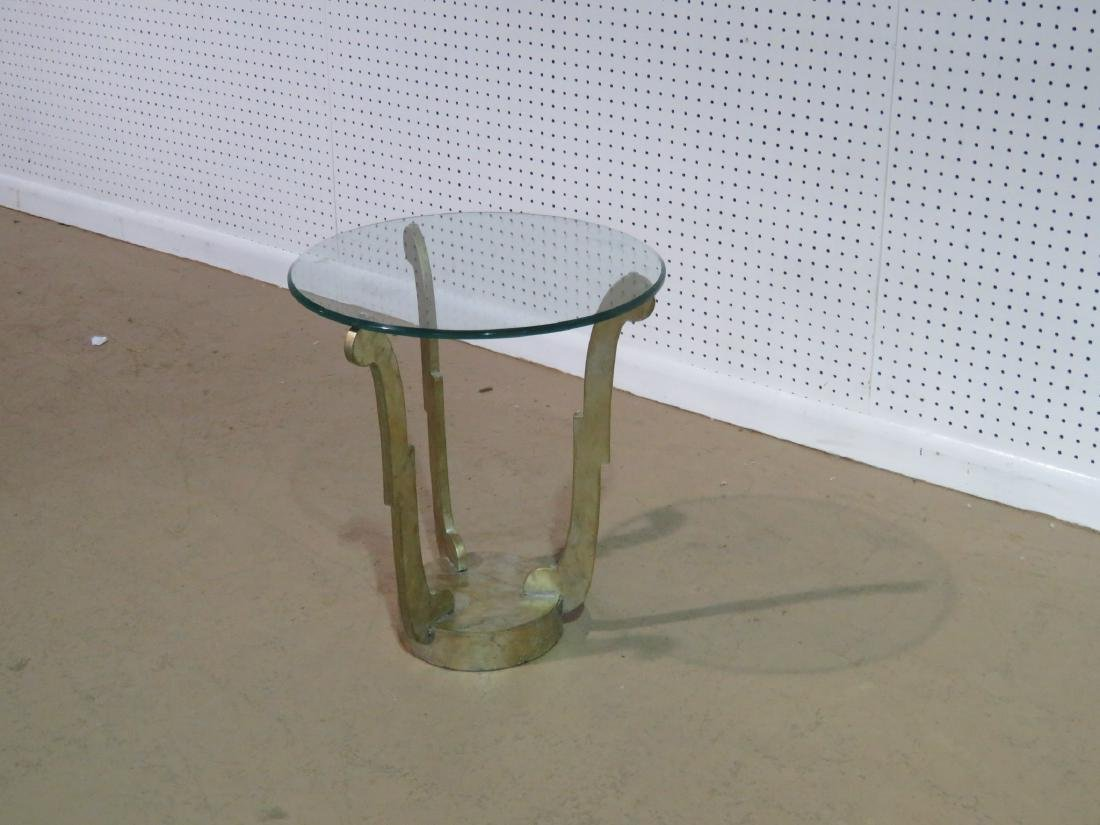 DECO INSPIRED GLASS TOP ACCENT TABLE - 6