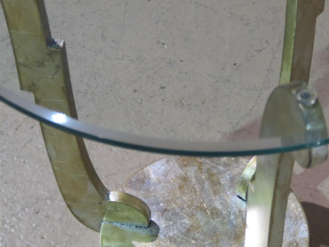 DECO INSPIRED GLASS TOP ACCENT TABLE - 8