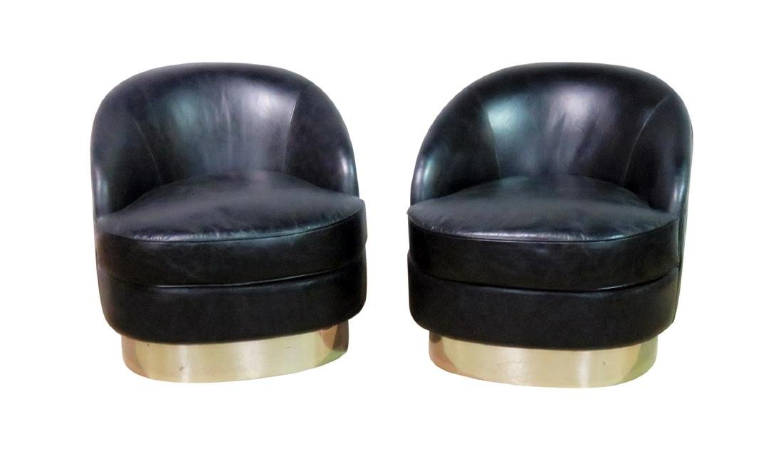 Pair KARL SPRINGER STYLE LEATHER CHAIRS
