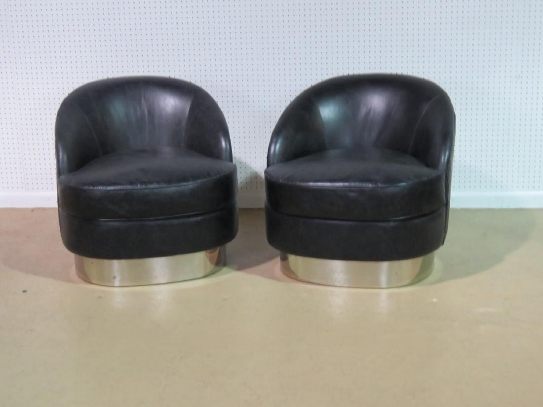 Pair KARL SPRINGER STYLE LEATHER CHAIRS - 2