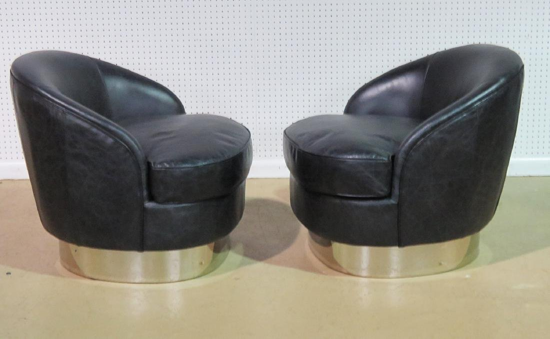 Pair KARL SPRINGER STYLE LEATHER CHAIRS - 3