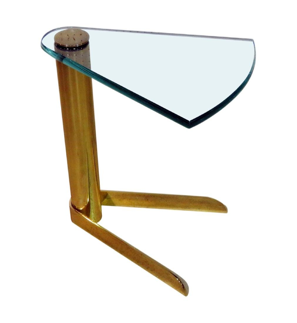 BRASS and GLASS FAN FORM END TABLE by PACE