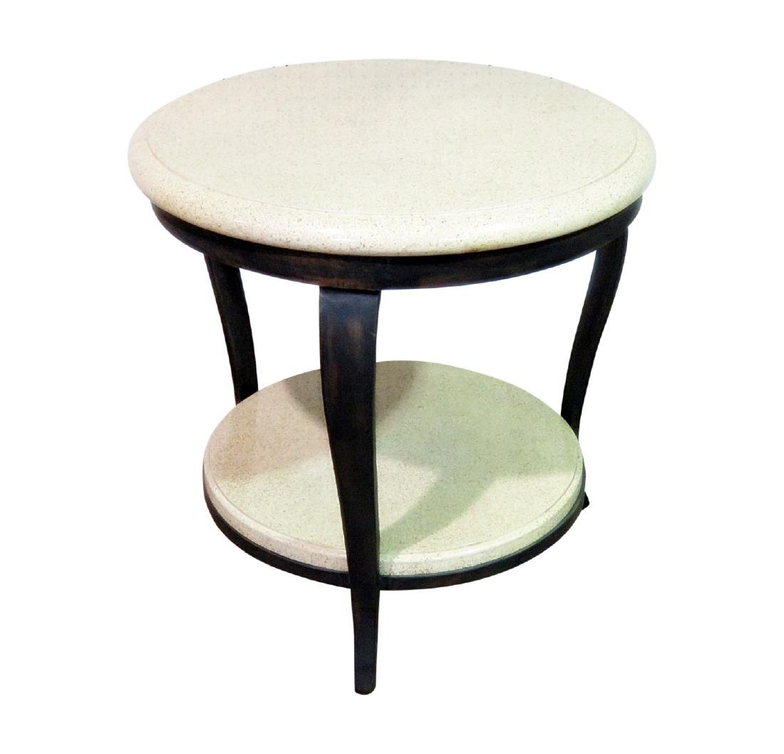 TWO TIER FAUX STONE TOP ACCENT TABLE