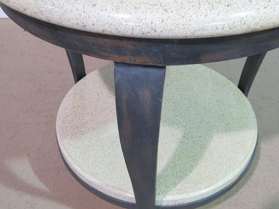 TWO TIER FAUX STONE TOP ACCENT TABLE - 2