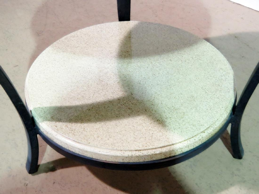 TWO TIER FAUX STONE TOP ACCENT TABLE - 3