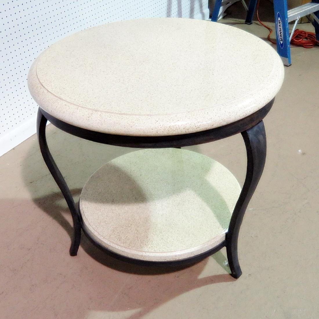TWO TIER FAUX STONE TOP ACCENT TABLE - 5