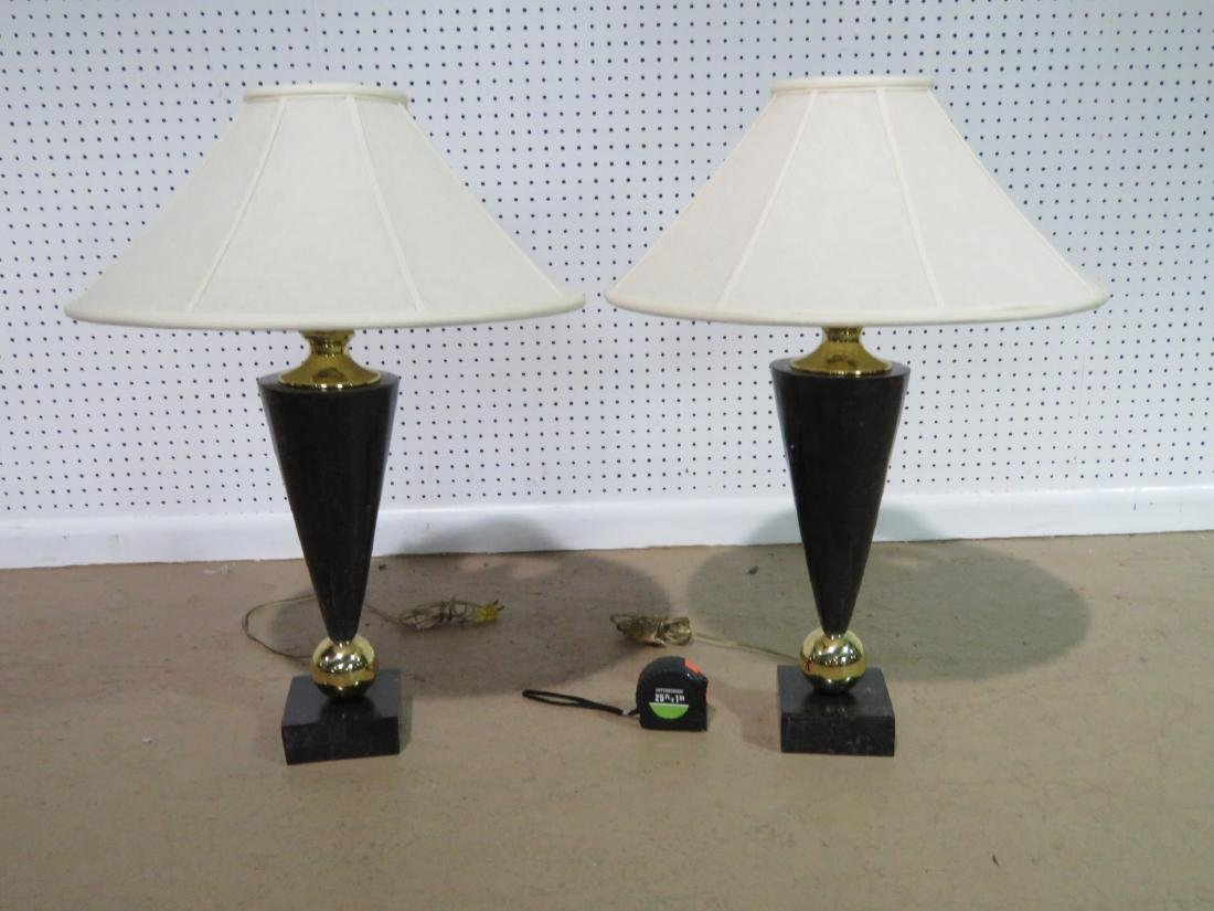 Pair DECO STYLE FAUX MARBLE TABLE LAMPS - 2