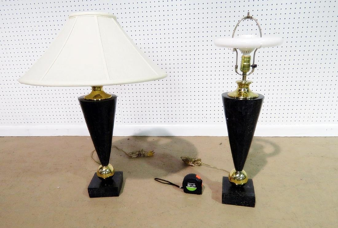 Pair DECO STYLE FAUX MARBLE TABLE LAMPS - 4