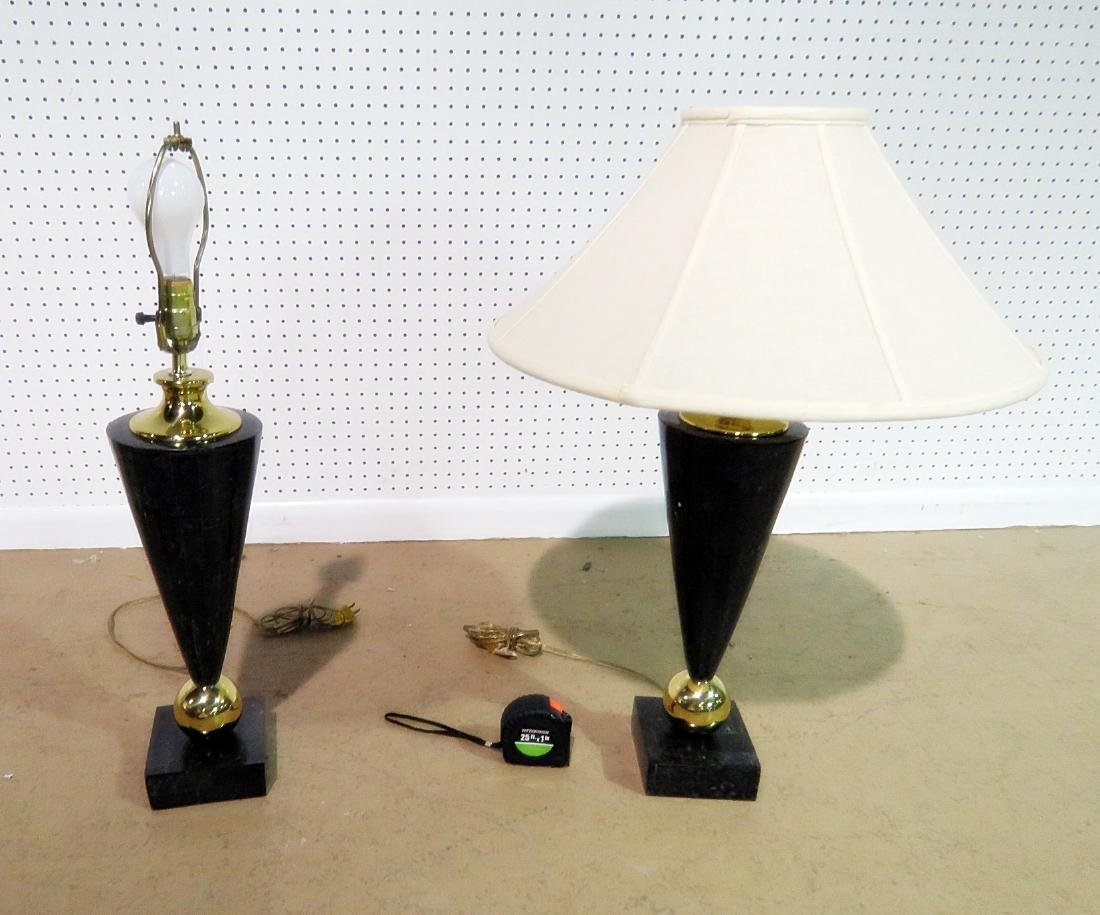 Pair DECO STYLE FAUX MARBLE TABLE LAMPS - 5