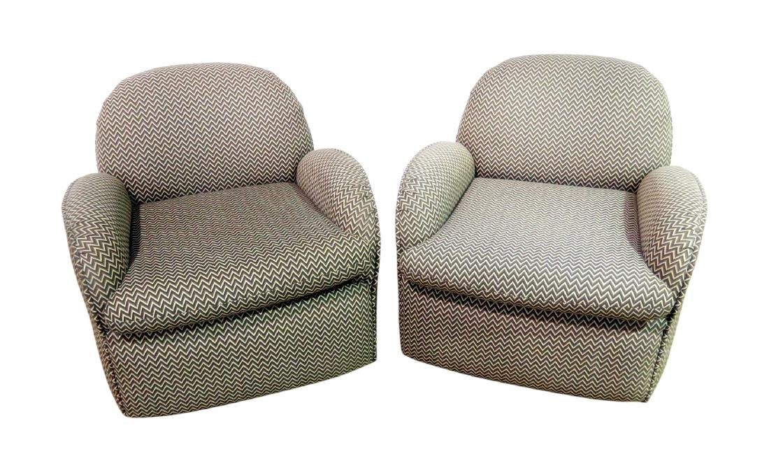 Pair VLADIMIR KAGAN for PREVIEW UPHOLSTERED CLUB CHAIRS