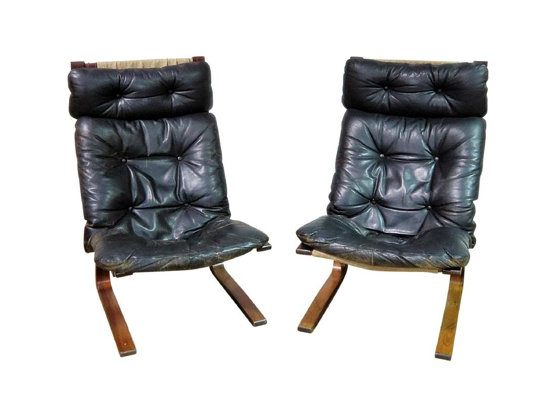 Pair ROSEWOOD FRAMED  LEATHER LOUNGE CHAIRS