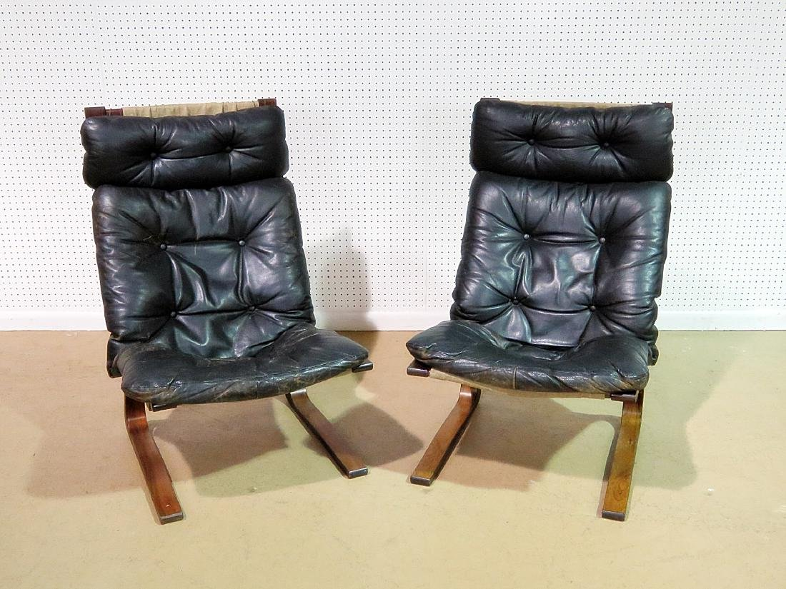 Pair ROSEWOOD FRAMED  LEATHER LOUNGE CHAIRS - 2