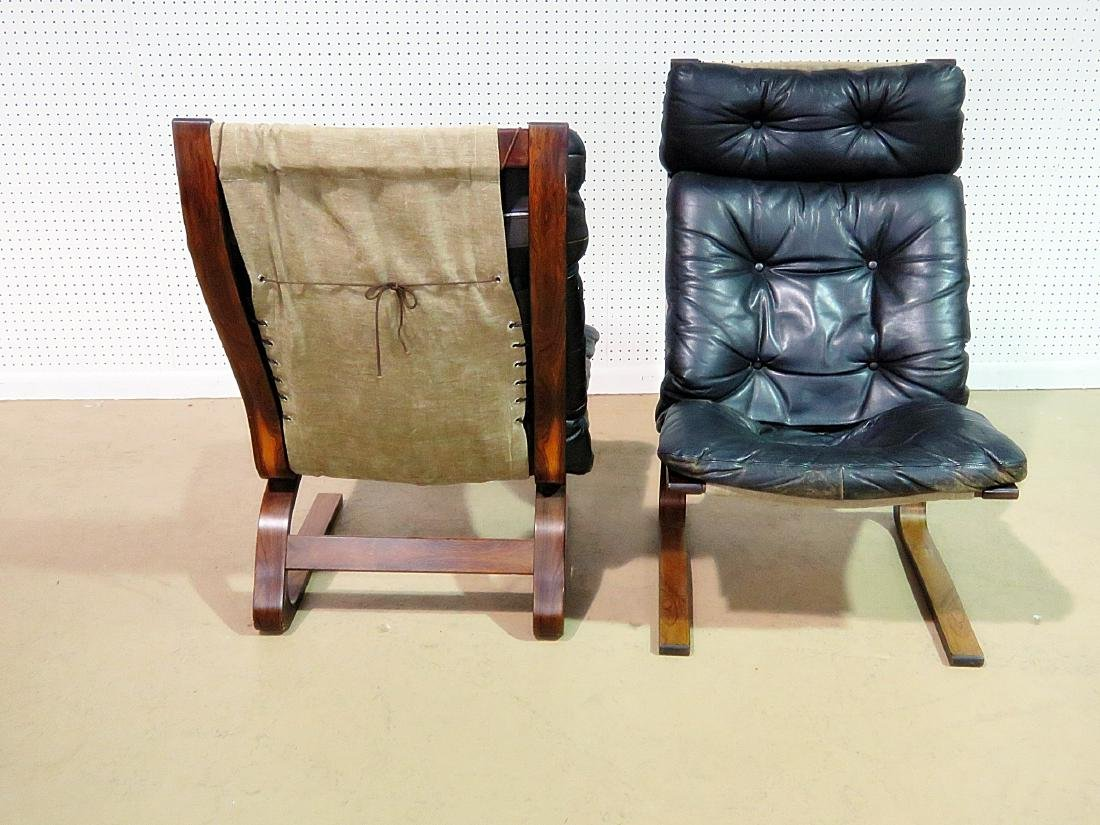 Pair ROSEWOOD FRAMED  LEATHER LOUNGE CHAIRS - 3