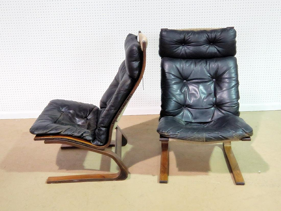 Pair ROSEWOOD FRAMED  LEATHER LOUNGE CHAIRS - 5