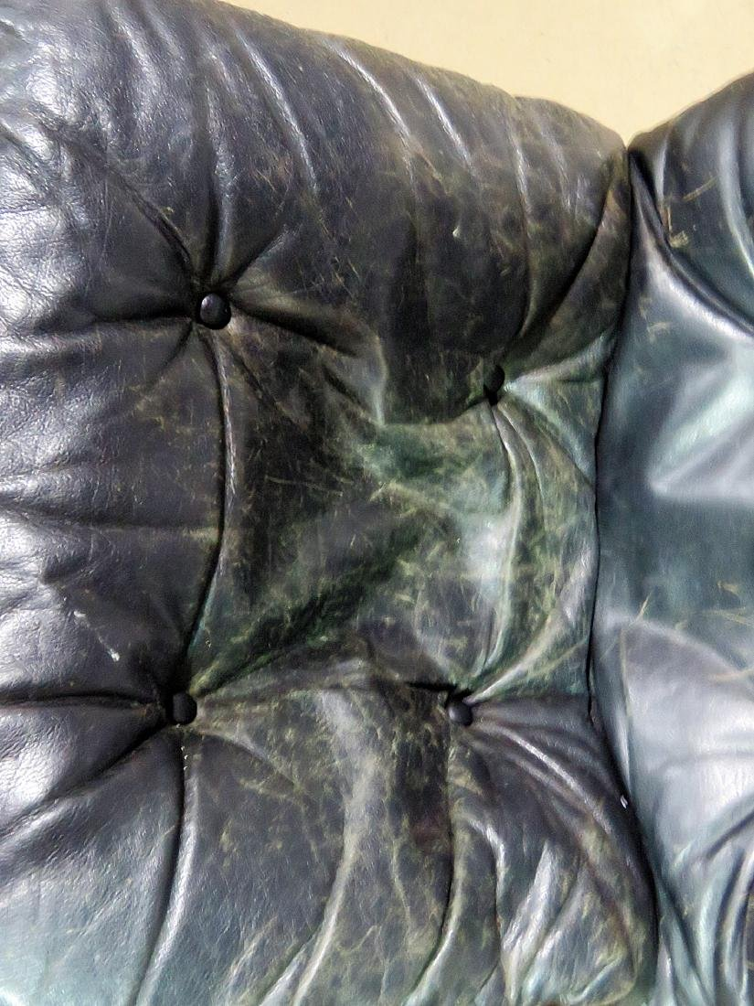 Pair ROSEWOOD FRAMED  LEATHER LOUNGE CHAIRS - 7