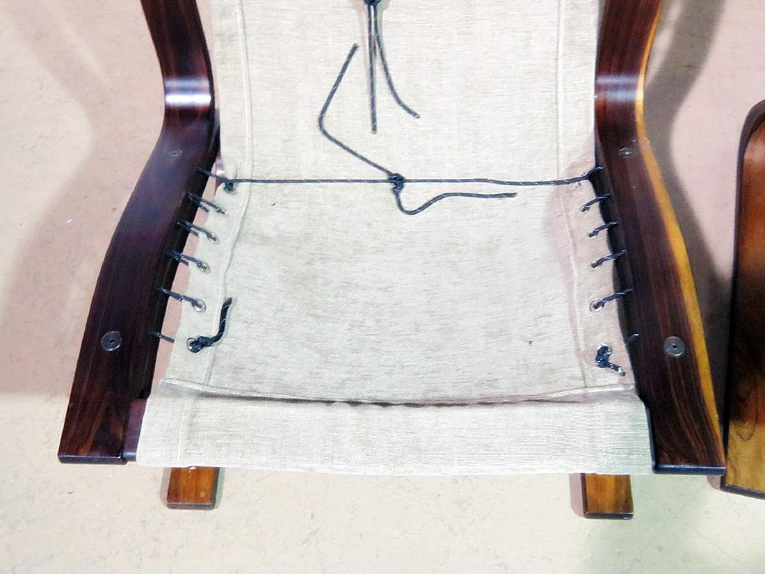 Pair ROSEWOOD FRAMED  LEATHER LOUNGE CHAIRS - 8