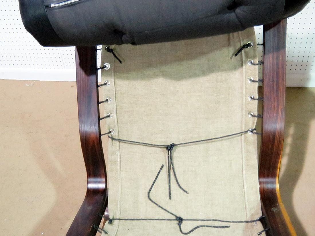 Pair ROSEWOOD FRAMED  LEATHER LOUNGE CHAIRS - 9