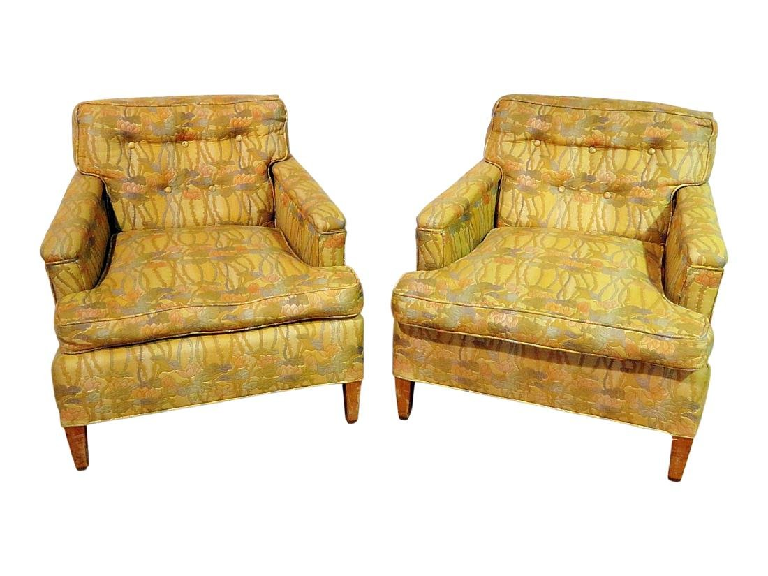 Pair UPHOLSTERED CLUB CHAIRS attributed to DUNBAR