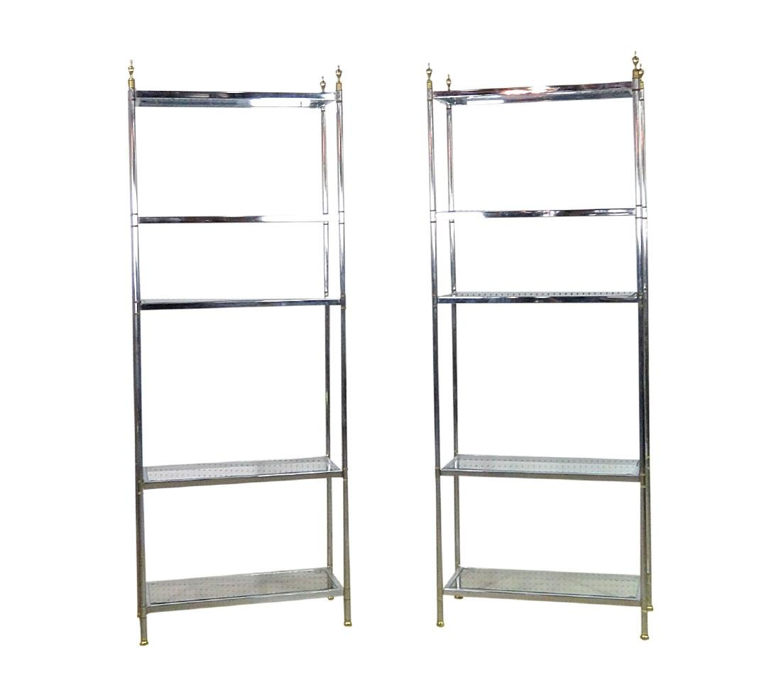 Pair JANSEN STYLE CHROME AND BRASS ETAGERES