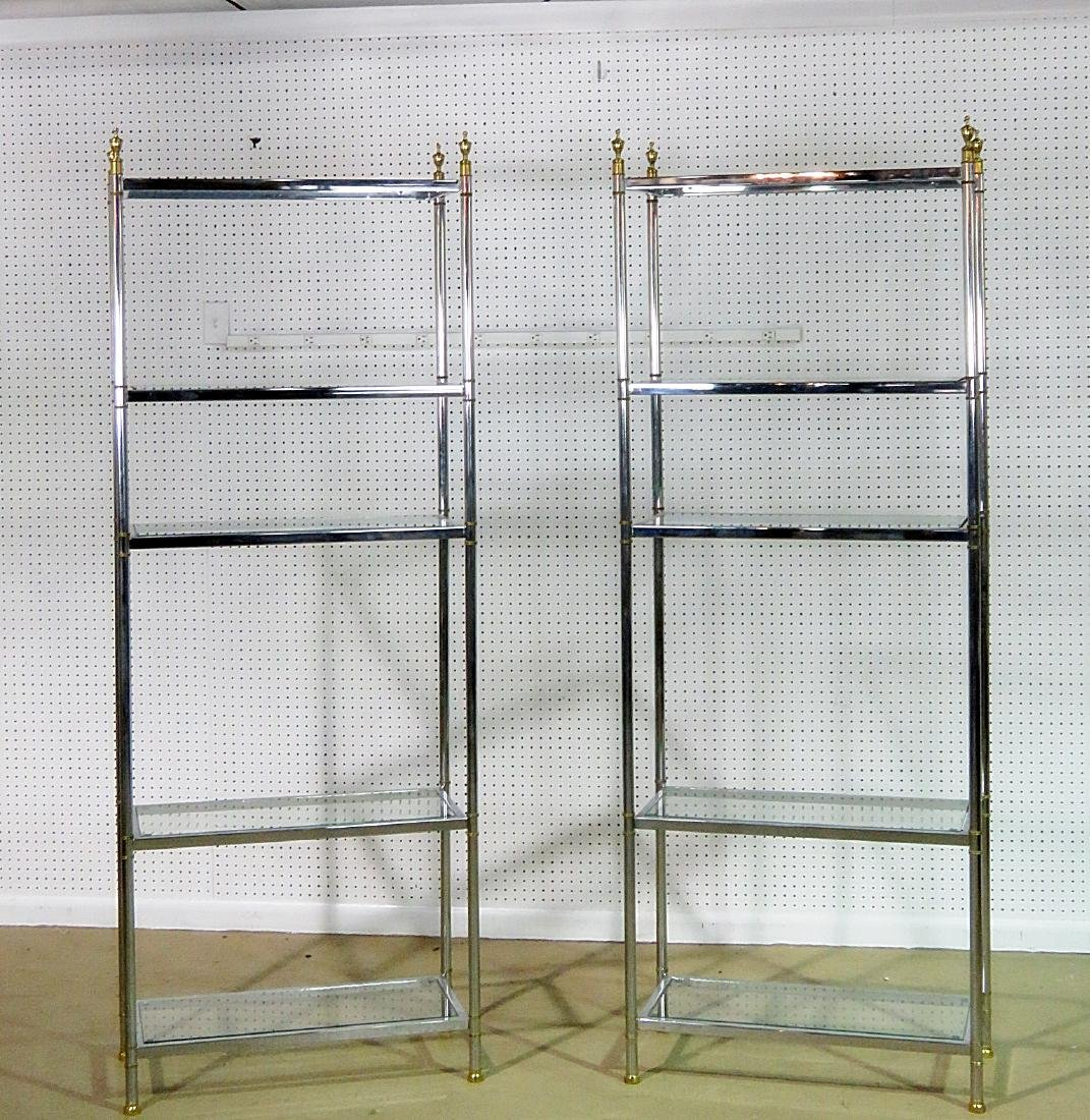 Pair JANSEN STYLE CHROME AND BRASS ETAGERES - 2