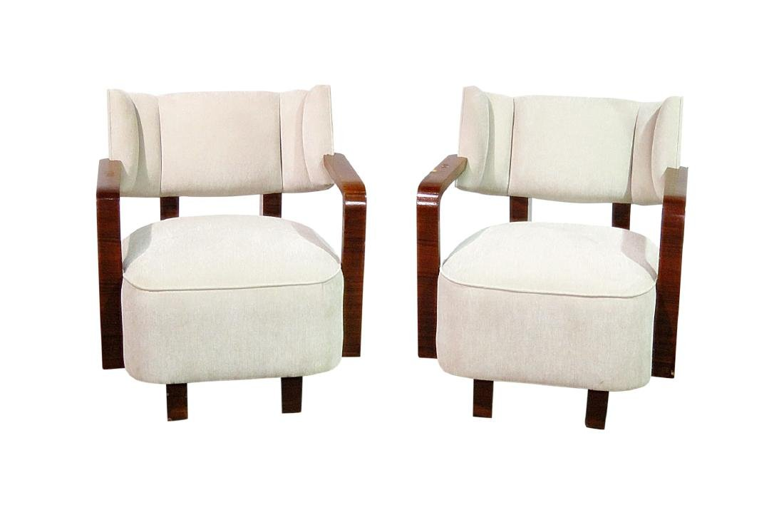 Pair MODERN DECO INSPIRED ROSEWOOD CLUB CHAIRS