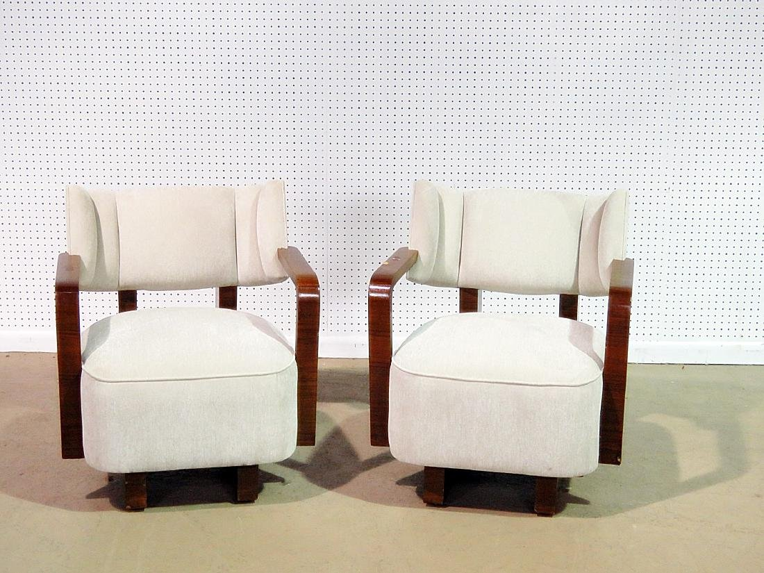 Pair MODERN DECO INSPIRED ROSEWOOD CLUB CHAIRS - 2