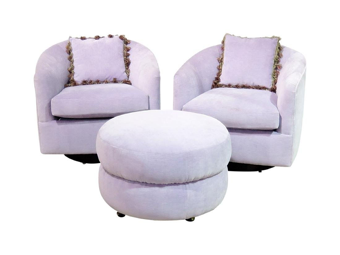 Pair MILO BAUGHMAN STYLE CLUB CHAIRS with ONE OTTOMAN
